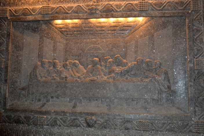 Salt carving of Leonardo's Last Supper