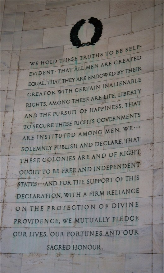 A portion of the Declaration of Independence inscribed on the wall inside the memorial