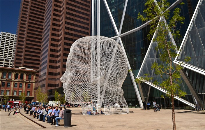 A really big head. Public art in downtown Calgary