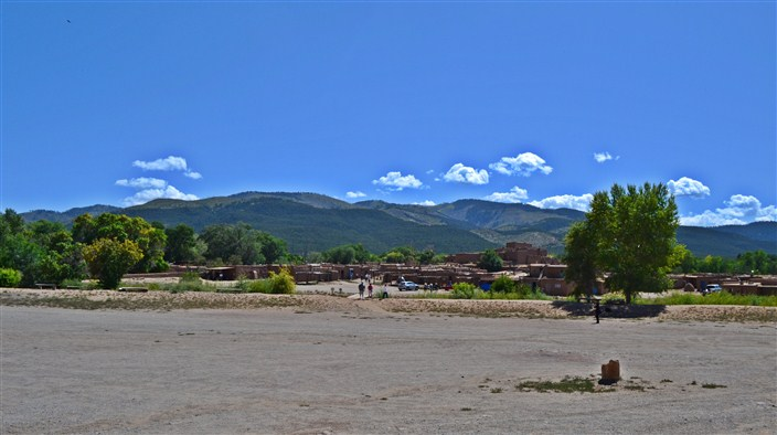 A wide view of the pueblo grounds