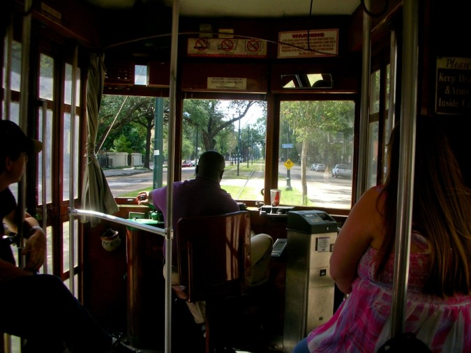 Aboard the St. Charles streetcar, New Orleans