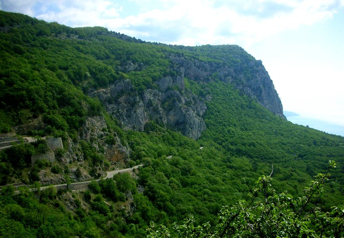 Black Sea coastline heading up into the Crimean Mountains