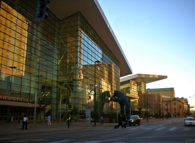 Denver Convention Center in evening