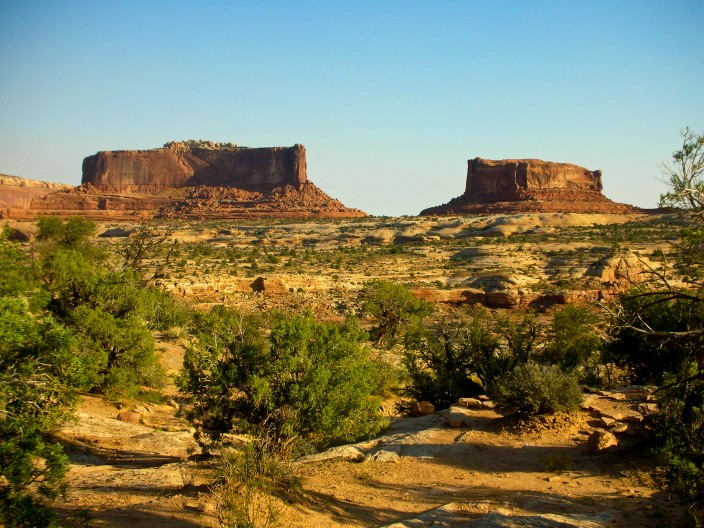 The Monitor and The Merrimack, sandstone monoliths along the road to Dead Horse Point
