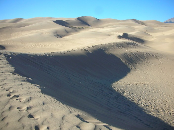 Footprints in the dunes, Great Sand Dunes National Park in Colorado