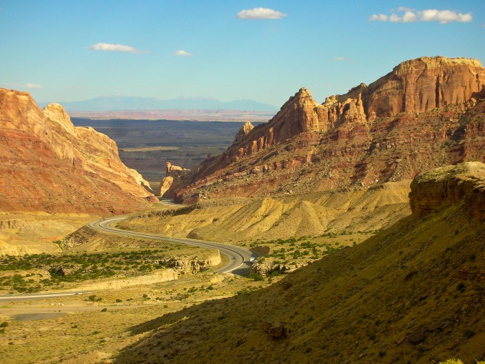 I-70 snaking through Spotted Wolf Canyon near eastern edge of San Rafael Swell