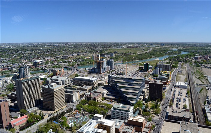 East from the tower, Bow River flowing through town