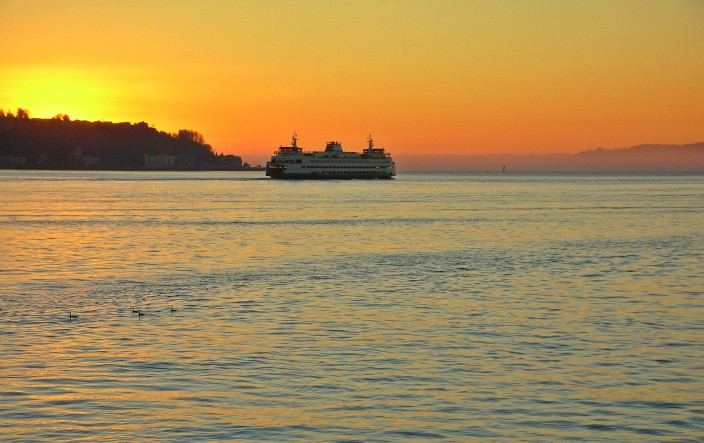 Ferry at sunset, Elliot Bay, Seattle