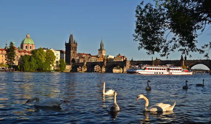 Floating on the Vltava River