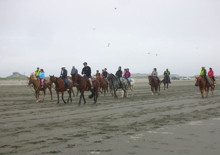 Horses and kites at Ocean Shores