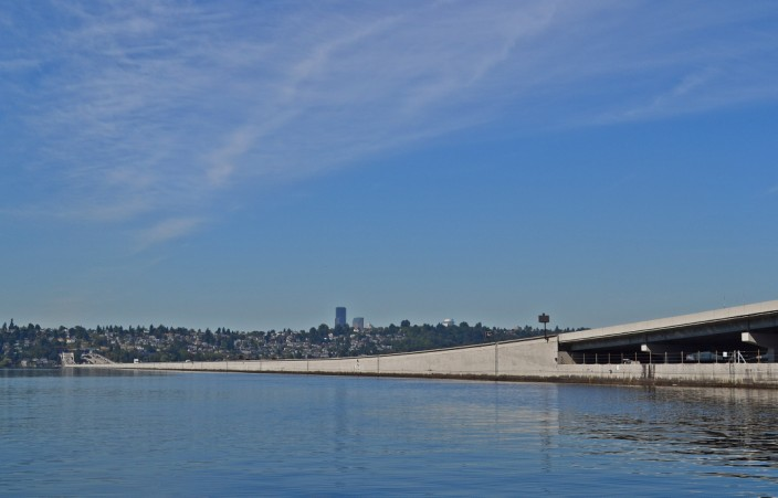 I-90 floating bridge traversing Lake Washington from Seattle to Mercer Island