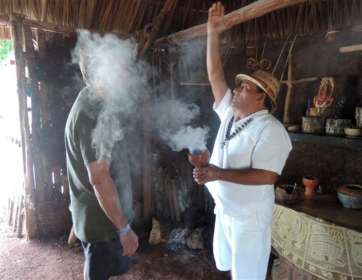 Incense blessing by Mayan elder...or am I just getting asphyxiated? Cough, cough...