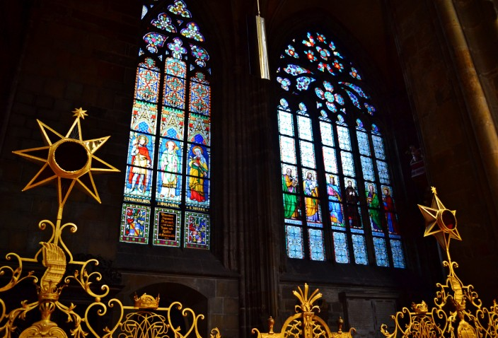 Just one of many spectacular stained glass windows