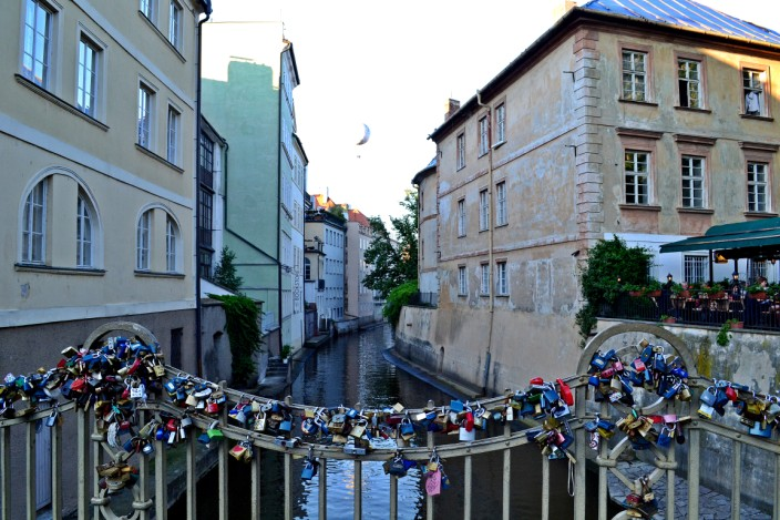Lover's locks on canal bridge