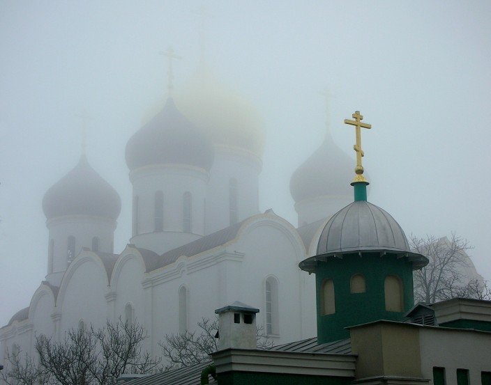Monastery domes in the fog