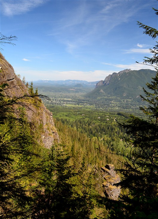 Mount Si on the right, with town of North Bend below it