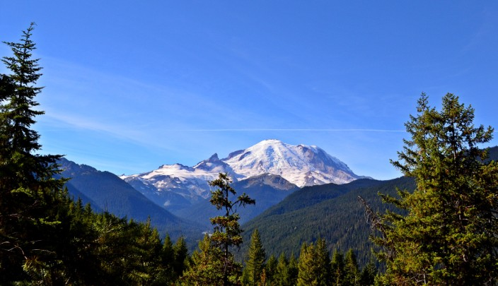 Mt. Rainier seen from half a mile up the Crystal Lakes Trail