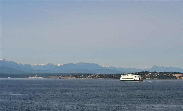 On board the Clipper, looking west as Washington State Ferry heads into Port Townsend, Wa