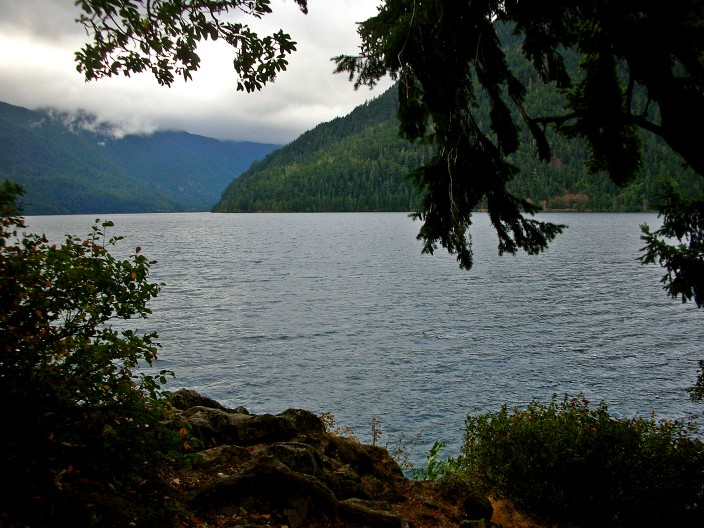 On the shores of Lake Crescent heading toward Forks