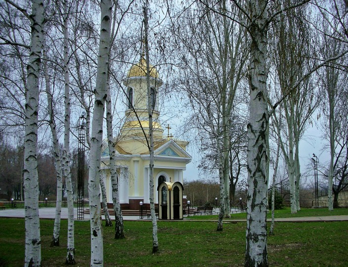Orthodox chapel in the birch trees
