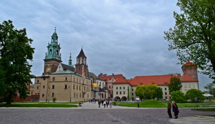 Our first view of Wawel Cathedral and Castle (on the right) as we entered the grounds