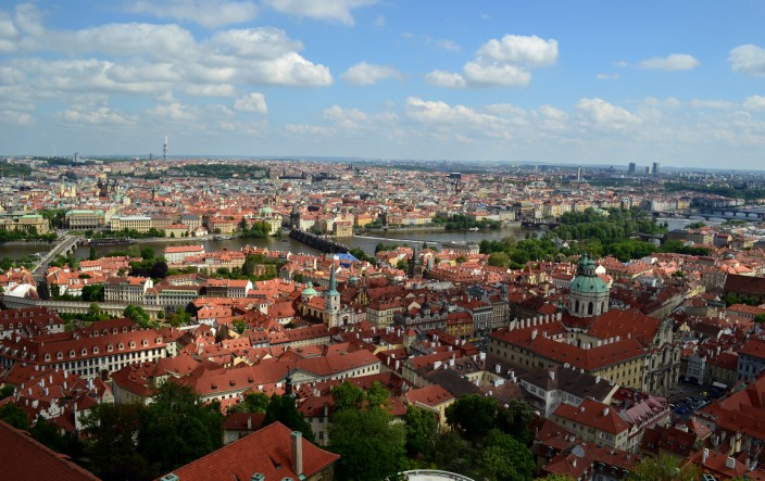 Panorama of Prague seen from the clock tower