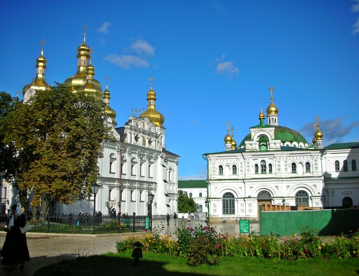 Pechersk Lavra church and monastery complex freshly washed and gleaming in the sun after a rainstorm