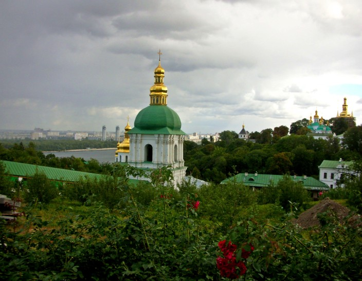 Pechersk Lavra Monastery atop ridge overlooking the Dnieper River