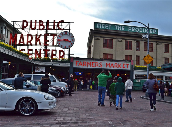 Pike Place Market in Seattle - always bustling and lively even in winter