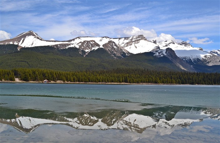 Plenty of ice still floating in Maligne Lake in May