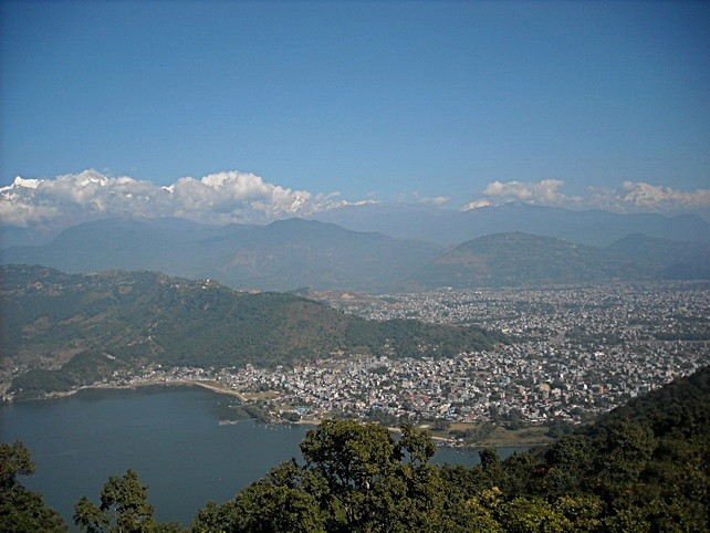 Pokhara, Phewa Lake lower left and Annapurna Range to the north