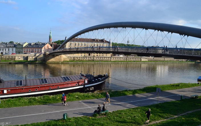 Popular path and pedestrian bridge over the Vistula