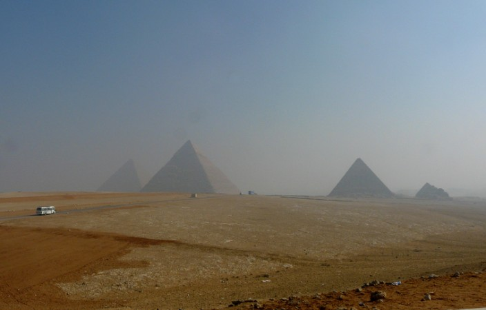 Pyramids (somewhat obscured by smog)