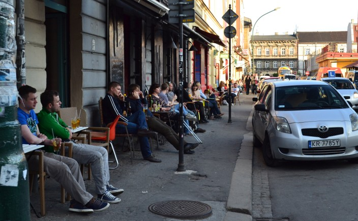 Relaxing in sidewalk cafes of Kazimierz
