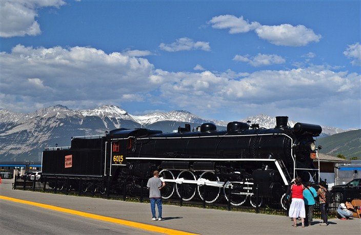 Retired steam locomotive in downtown Jasper
