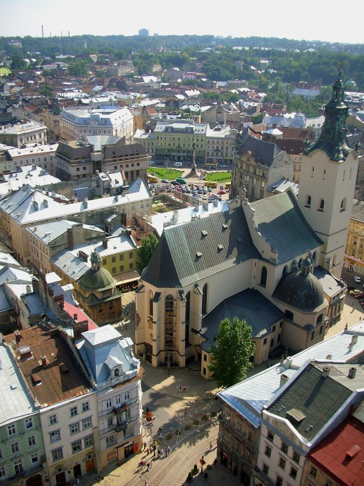 Rooftops of Lviv from Town Hall Tower