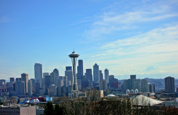 Seattle Skyline, Space Needle, downtown, and Mt. Rainier in background