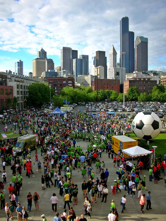 Sounders game, downtown in background