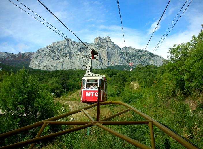 Start of tram ride, Ai-Petri looming above