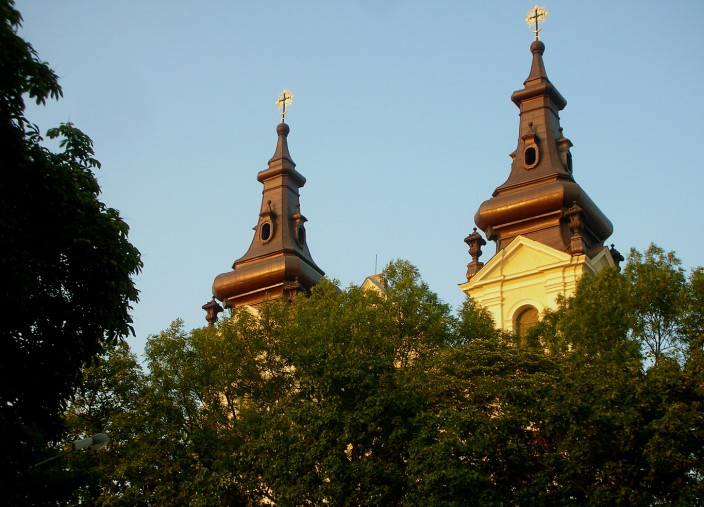 Steeples in the setting sun
