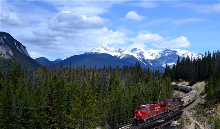 The Canadian Pacific Railway rolling through the Rockies