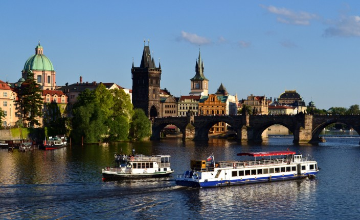 The Charles Bridge, Old Town side of the Vltava River