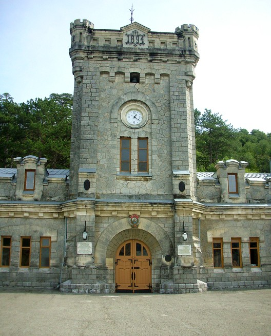 The clock tower in Massandra Winery