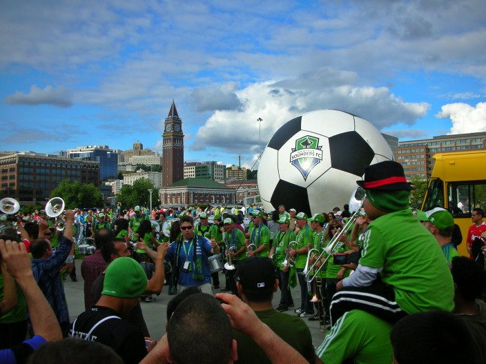 The crowd gathers for a Sounders game at Century Link Field