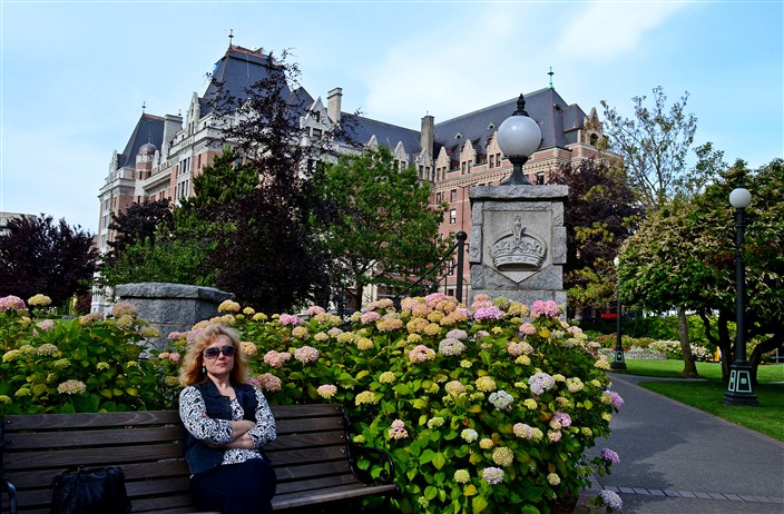 The Empress Hotel...somewhere behind the flowers