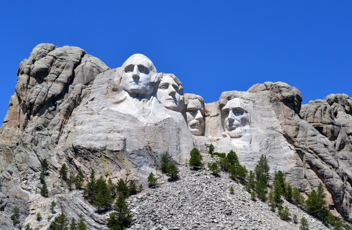 The famous four, Washington, Jefferson, Teddy Roosevelt and Lincoln, left to right
