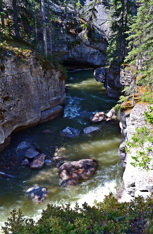 The Maligne River canyon further downstream
