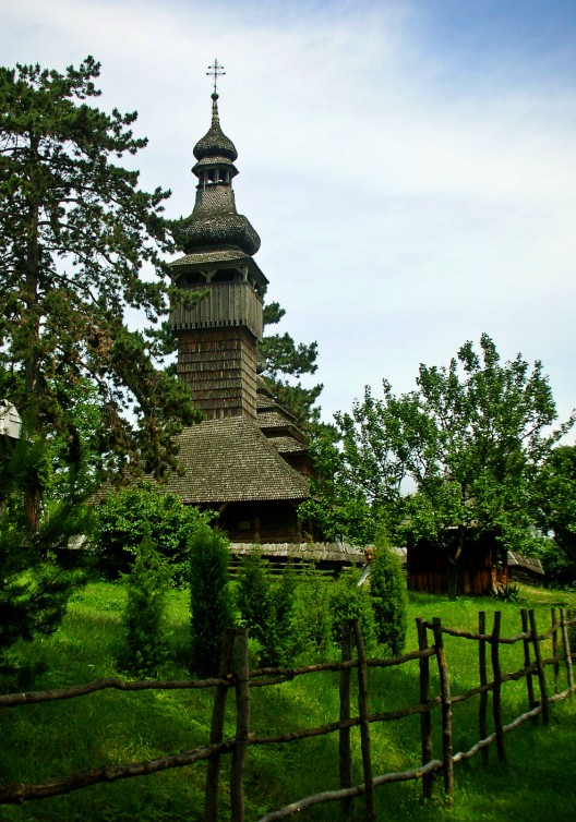 The old wooden church in medieval village