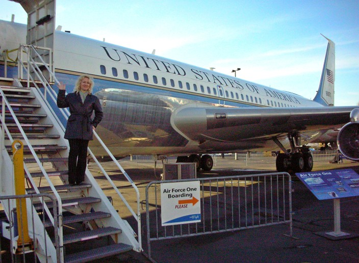 The President deplanes from Air Force One at the Museum of Flight