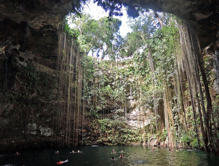 The ol' swimming hole. Cooling off in a cenote